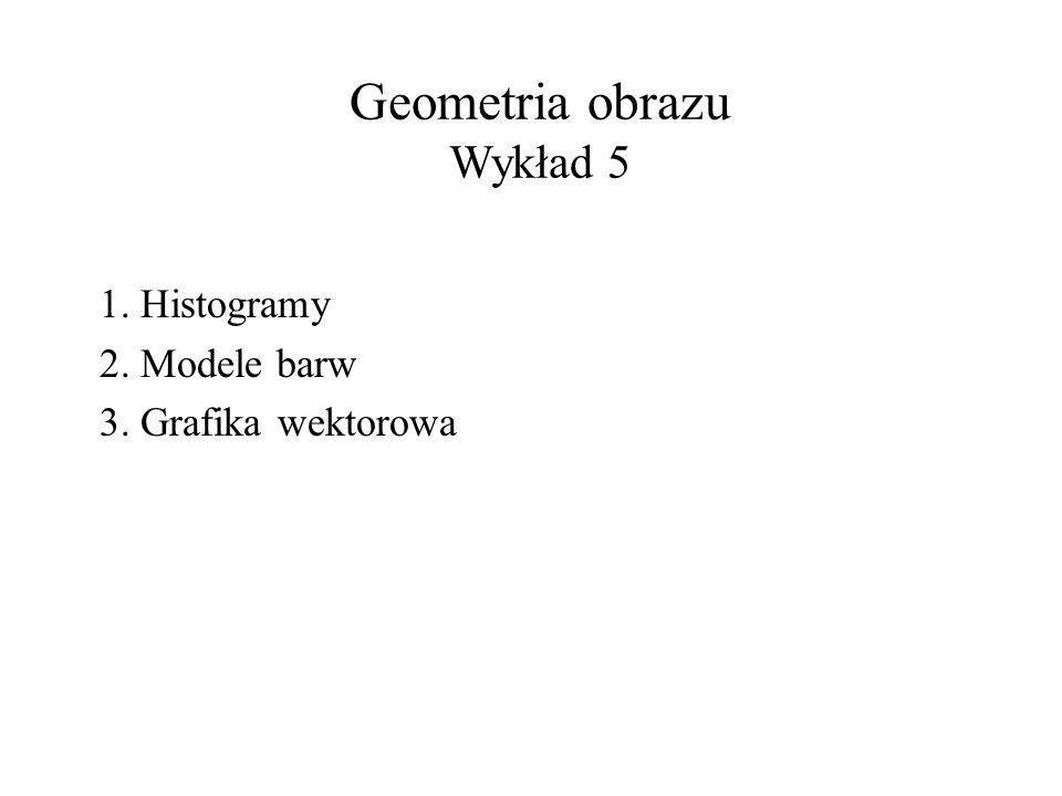 Geometria obrazu Wykład 5 1. Histogramy 2. Modele barw 3. Grafika wektorowa