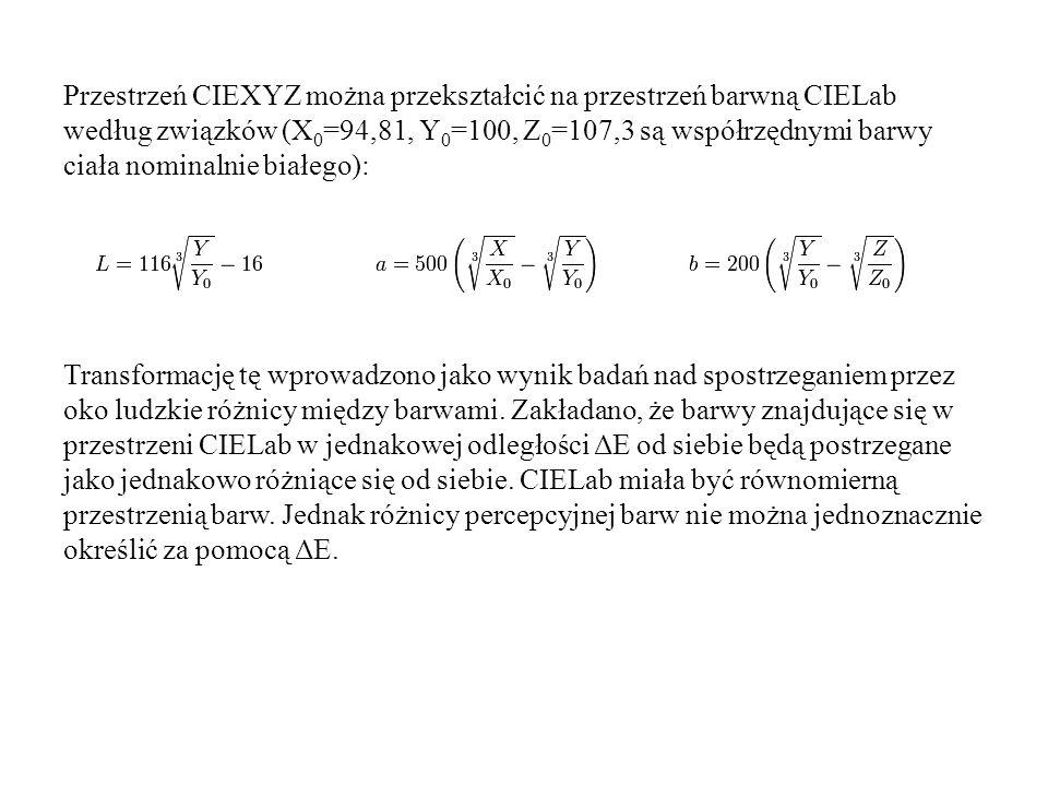 Przestrzeń CIEXYZ można przekształcić na przestrzeń barwną CIELab według związków (X 0 =94,81, Y 0 =100, Z 0 =107,3 są współrzędnymi barwy ciała nomin