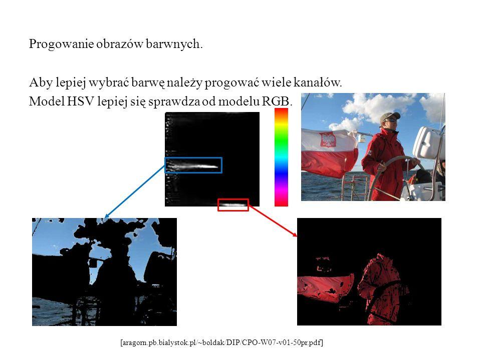 Progowanie obrazów barwnych. Aby lepiej wybrać barwę należy progować wiele kanałów. Model HSV lepiej się sprawdza od modelu RGB. [aragorn.pb.bialystok