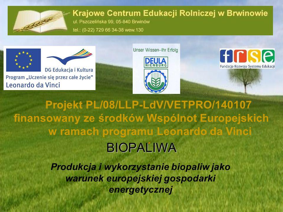 Produkcja i wykorzystanie biopaliw jako warunek europejskiej gospodarki energetycznej Projekt PL/08/LLP-LdV/VETPRO/140107 finansowany ze środków Wspól