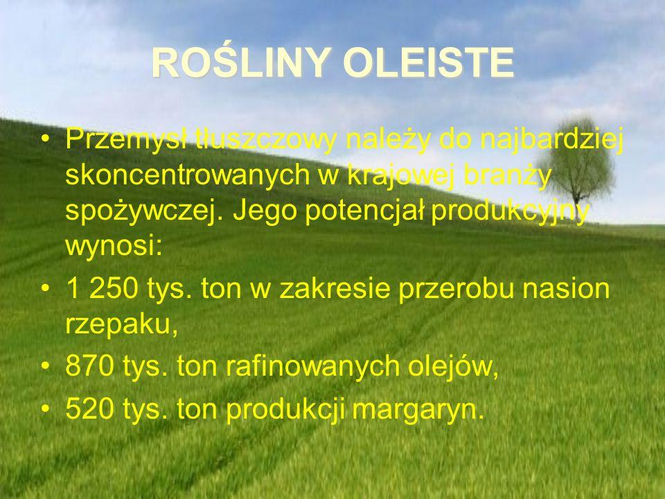 ROŚLINY OLEISTE Przemysł tłuszczowy należy do najbardziej skoncentrowanych w krajowej branży spożywczej. Jego potencjał produkcyjny wynosi: 1 250 tys.