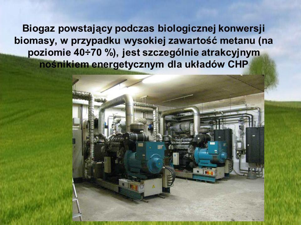 Biogaz powstający podczas biologicznej konwersji biomasy, w przypadku wysokiej zawartość metanu (na poziomie 40÷70 %), jest szczególnie atrakcyjnym no