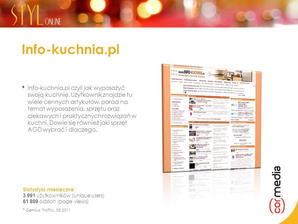 Info-kuchnia.pl Info-kuchnia.pl czyli jak wyposażyć swoją kuchnię. Użytkownik znajdzie tu wiele cennych artykułów, porad na temat wyposażenia, sprzętu