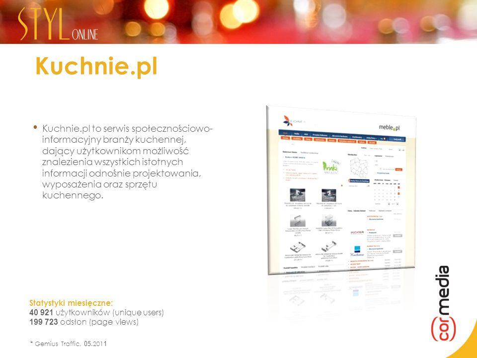 Statystyki miesięczne: 40 921 użytkowników (unique users) 199 723 odsłon (page views) * Gemius Traffic, 05.201 1 Kuchnie.pl Kuchnie.pl to serwis społe