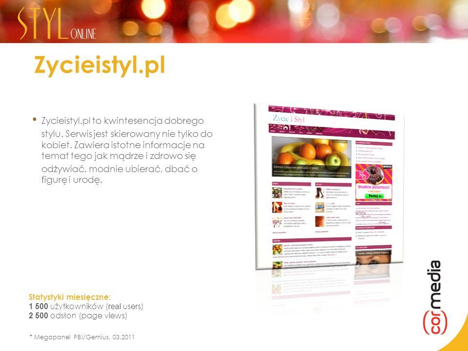 Statystyki miesięczne: 1 500 użytkowników ( real users) 2 500 odsłon (page views) * Megapanel PBI/Gemius, 03.2011 Zycieistyl.pl Zycieistyl.pl to kwint