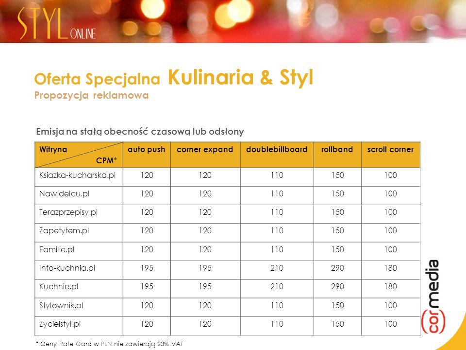 Oferta Specjalna Kulinaria & Styl Propozycja reklamowa Emisja na stałą obecność czasową lub odsłony Witryna CPM* auto pushcorner expanddoublebillboard