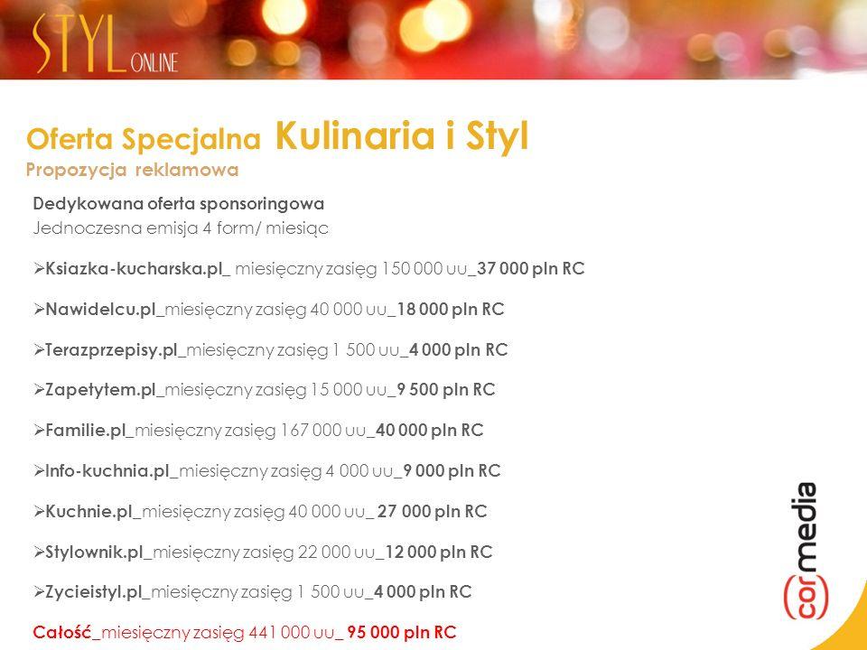 Oferta Specjalna Kulinaria i Styl Propozycja reklamowa Dedykowana oferta sponsoringowa Jednoczesna emisja 4 form/ miesiąc Ksiazka-kucharska.pl_ miesię