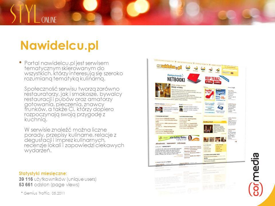 Nawidelcu.pl Portal nawidelcu.pl jest serwisem tematycznym skierowanym do wszystkich, którzy interesują się szeroko rozumianą tematyką kulinarną. Społ