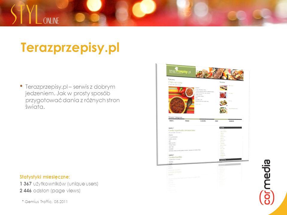 Terazprzepisy.pl Terazprzepisy.pl – serwis z dobrym jedzeniem. Jak w prosty sposób przygotować dania z różnych stron świata. Statystyki miesięczne: 1