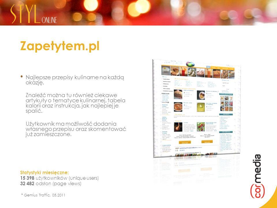 Zapetytem.pl Najlepsze przepisy kulinarne na każdą okazję. Znaleźć można tu również ciekawe artykuły o tematyce kulinarnej, tabela kalorii oraz instru