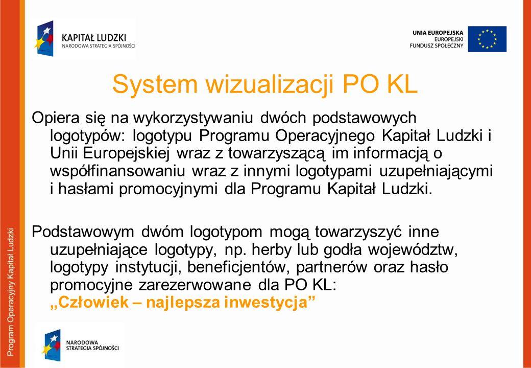 System wizualizacji PO KL Opiera się na wykorzystywaniu dwóch podstawowych logotypów: logotypu Programu Operacyjnego Kapitał Ludzki i Unii Europejskie