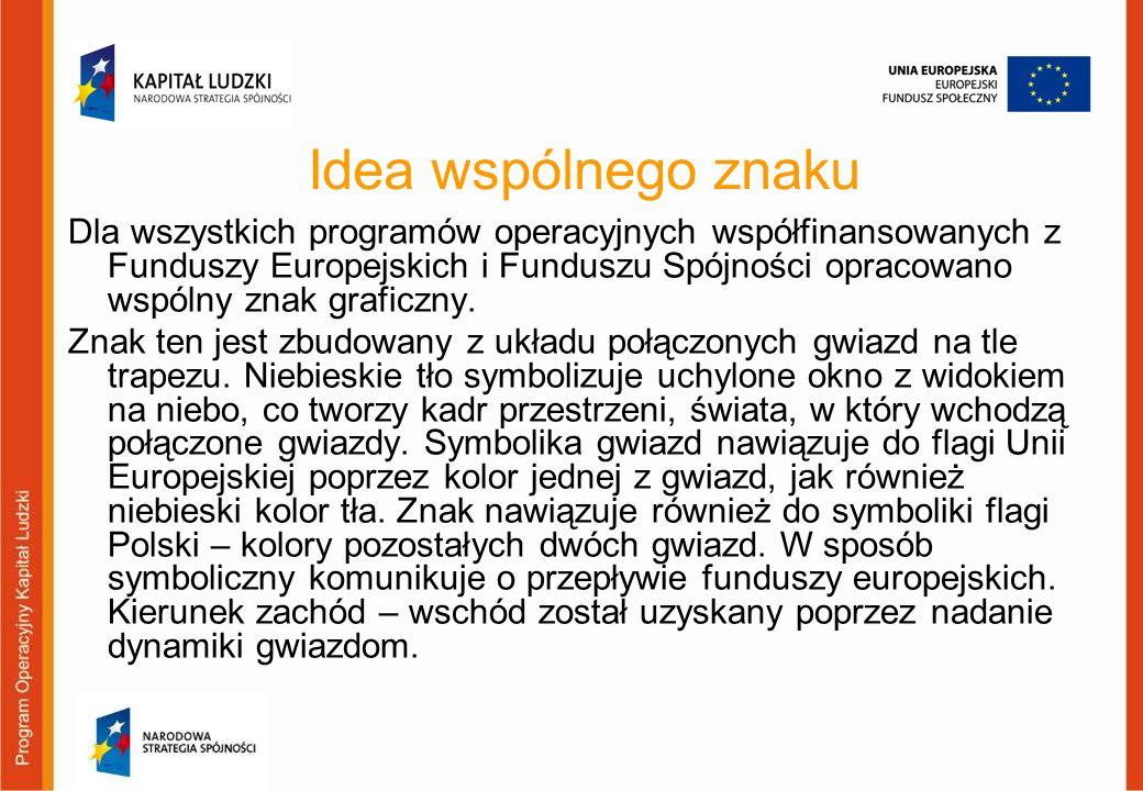 Dla wszystkich programów operacyjnych współfinansowanych z Funduszy Europejskich i Funduszu Spójności opracowano wspólny znak graficzny. Znak ten jest