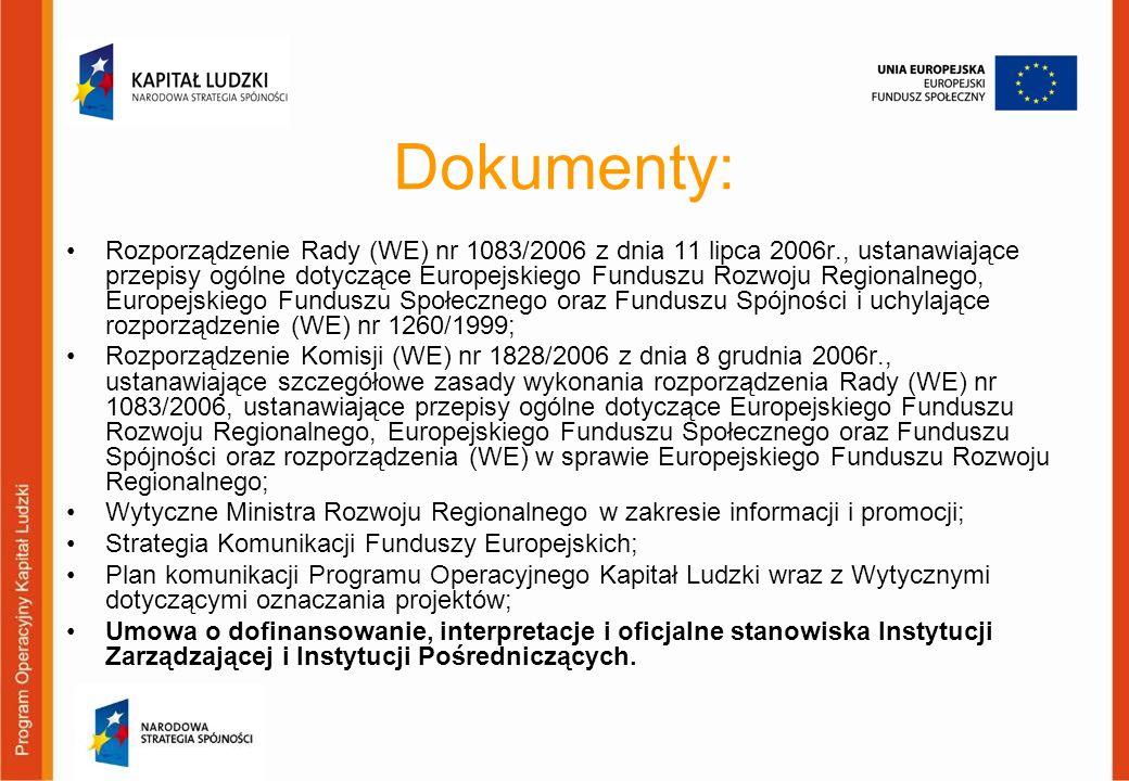 Strony internetowe w przypadku finansowania strony internetowej ze środków projektu powinna ona posiadać przynajmniej na stronie głównej logotypy oraz informację o współfinansowaniu; strona powinna posiadać link do strony głównej Programu Operacyjnego Kapitał Ludzki: www.efs.gov.pl