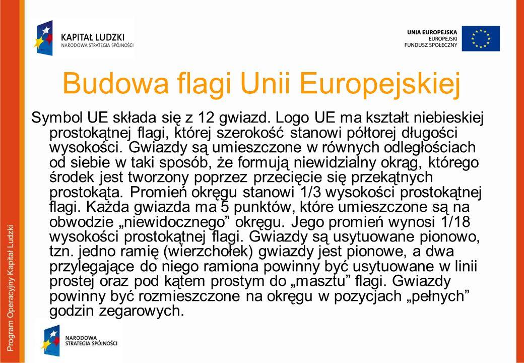 Budowa flagi Unii Europejskiej Symbol UE składa się z 12 gwiazd. Logo UE ma kształt niebieskiej prostokątnej flagi, której szerokość stanowi półtorej