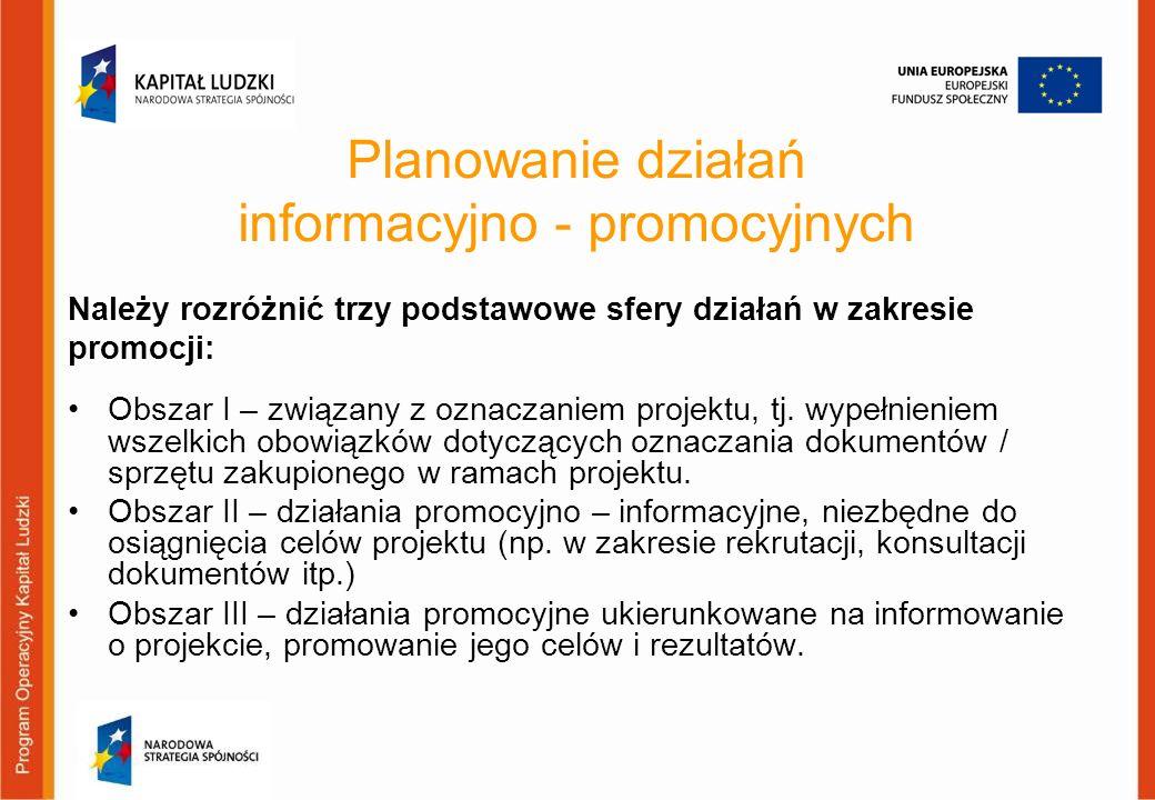 Planowanie działań informacyjno - promocyjnych Obszar I – związany z oznaczaniem projektu, tj. wypełnieniem wszelkich obowiązków dotyczących oznaczani