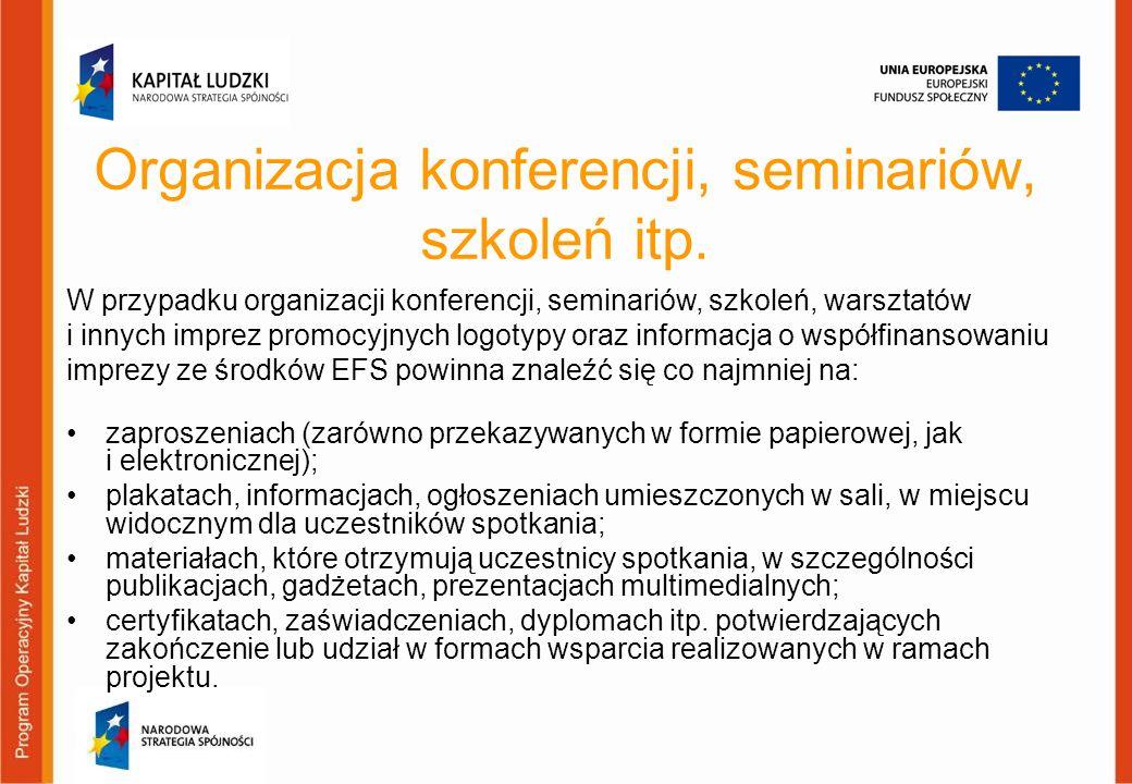 Organizacja konferencji, seminariów, szkoleń itp. zaproszeniach (zarówno przekazywanych w formie papierowej, jak i elektronicznej); plakatach, informa