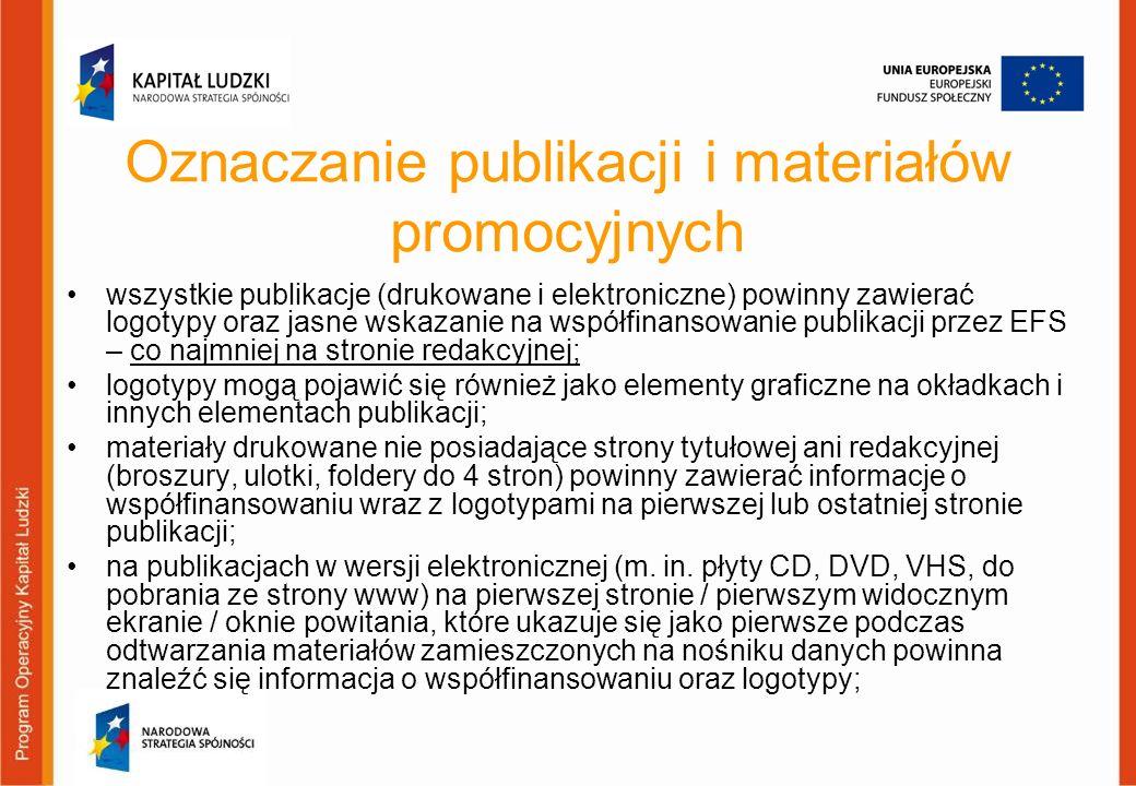 Oznaczanie publikacji i materiałów promocyjnych wszystkie publikacje (drukowane i elektroniczne) powinny zawierać logotypy oraz jasne wskazanie na wsp