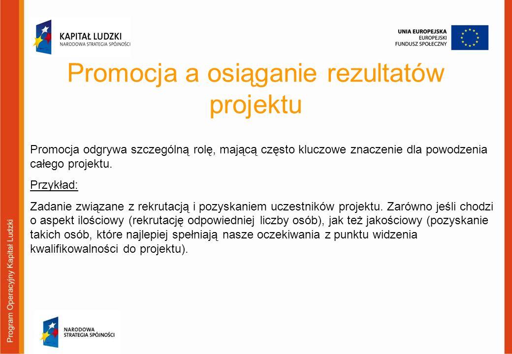 Promocja a osiąganie rezultatów projektu Promocja odgrywa szczególną rolę, mającą często kluczowe znaczenie dla powodzenia całego projektu. Przykład: