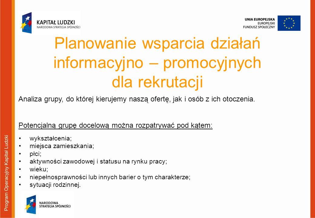 Planowanie wsparcia działań informacyjno – promocyjnych dla rekrutacji wykształcenia; miejsca zamieszkania; płci; aktywności zawodowej i statusu na ry