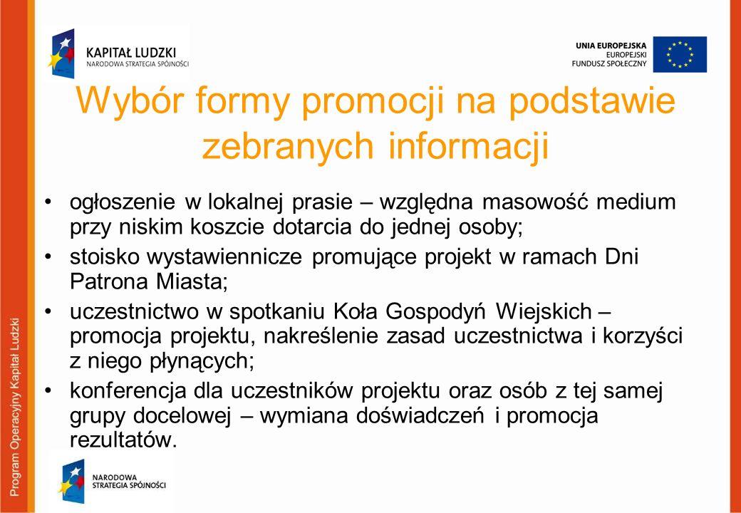 Wybór formy promocji na podstawie zebranych informacji ogłoszenie w lokalnej prasie – względna masowość medium przy niskim koszcie dotarcia do jednej