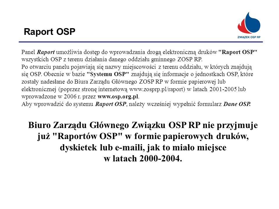 Raport OSP Panel Raport umożliwia dostęp do wprowadzania drogą elektroniczną druków