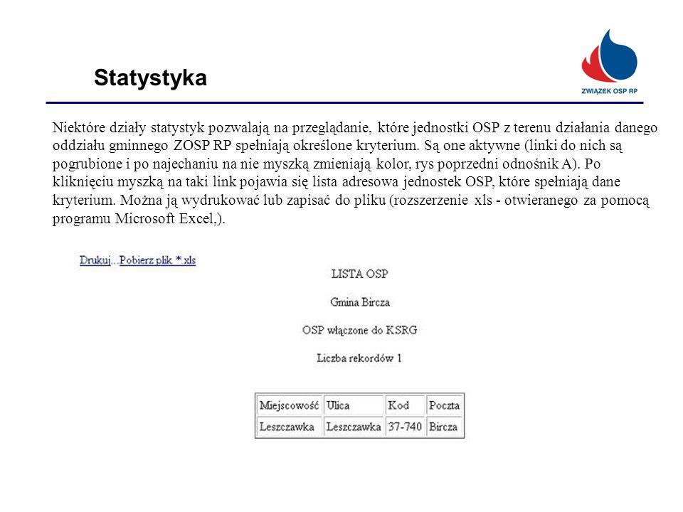 Statystyka Niektóre działy statystyk pozwalają na przeglądanie, które jednostki OSP z terenu działania danego oddziału gminnego ZOSP RP spełniają okre
