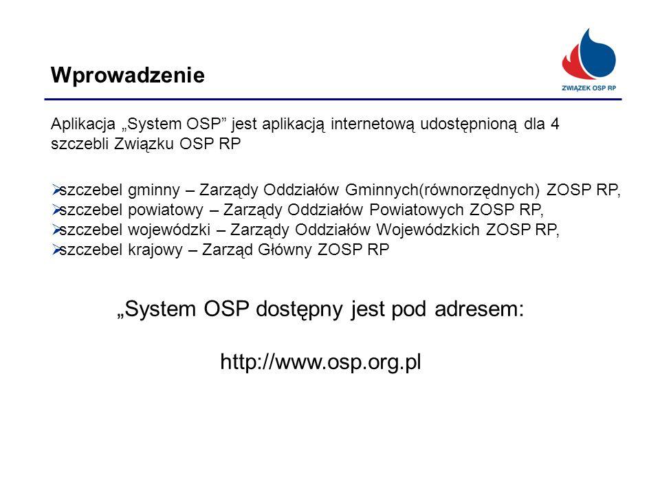 Wprowadzenie Aplikacja System OSP jest aplikacją internetową udostępnioną dla 4 szczebli Związku OSP RP szczebel gminny – Zarządy Oddziałów Gminnych(r
