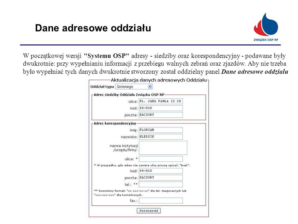 Dane adresowe oddziału W początkowej wersji
