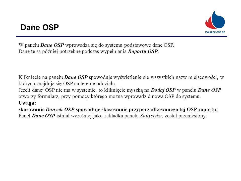 Dane OSP W panelu Dane OSP wprowadza się do systemu podstawowe dane OSP. Dane te są później potrzebne podczas wypełniania Raportu OSP. Kliknięcie na p