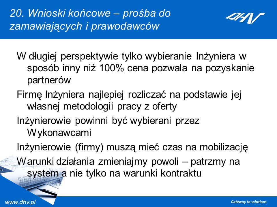 www.dhv.pl 20. Wnioski końcowe – prośba do zamawiających i prawodawców W długiej perspektywie tylko wybieranie Inżyniera w sposób inny niż 100% cena p
