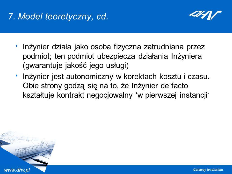 www.dhv.pl 7. Model teoretyczny, cd. ٠ Inżynier działa jako osoba fizyczna zatrudniana przez podmiot; ten podmiot ubezpiecza działania Inżyniera (gwar