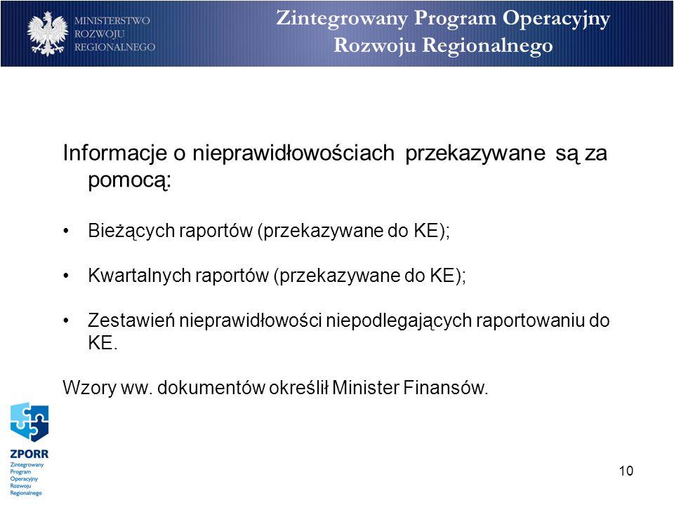10 Zintegrowany Program Operacyjny Rozwoju Regionalnego Informacje o nieprawidłowościach przekazywane są za pomocą: Bieżących raportów (przekazywane d
