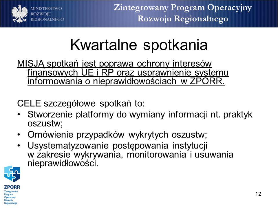 12 Zintegrowany Program Operacyjny Rozwoju Regionalnego Kwartalne spotkania MISJĄ spotkań jest poprawa ochrony interesów finansowych UE i RP oraz uspr