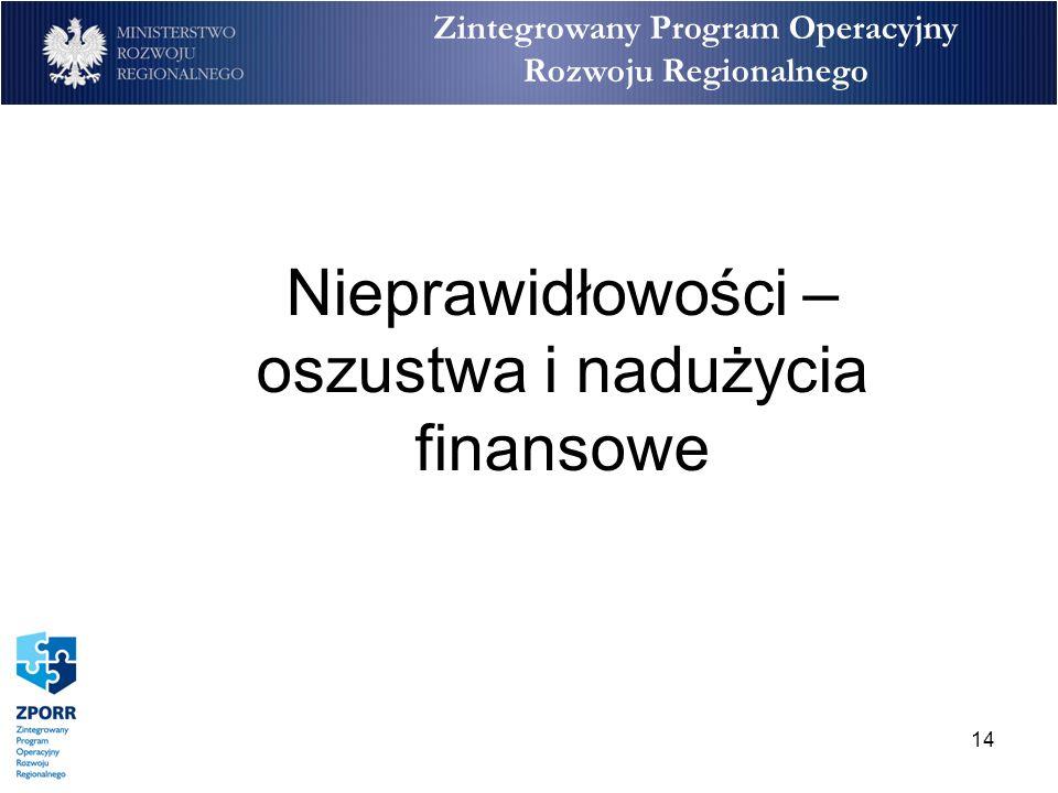14 Zintegrowany Program Operacyjny Rozwoju Regionalnego Nieprawidłowości – oszustwa i nadużycia finansowe