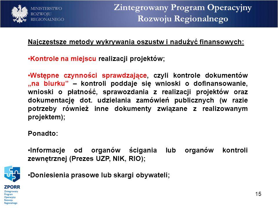 15 Zintegrowany Program Operacyjny Rozwoju Regionalnego Najczęstsze metody wykrywania oszustw i nadużyć finansowych: Kontrole na miejscu realizacji pr