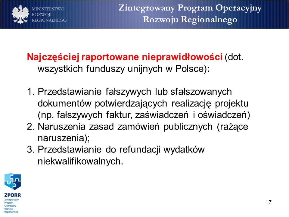 17 Zintegrowany Program Operacyjny Rozwoju Regionalnego Najczęściej raportowane nieprawidłowości (dot. wszystkich funduszy unijnych w Polsce): 1.Przed