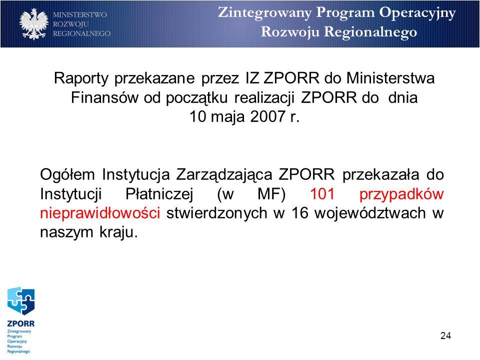 24 Raporty przekazane przez IZ ZPORR do Ministerstwa Finansów od początku realizacji ZPORR do dnia 10 maja 2007 r. Ogółem Instytucja Zarządzająca ZPOR