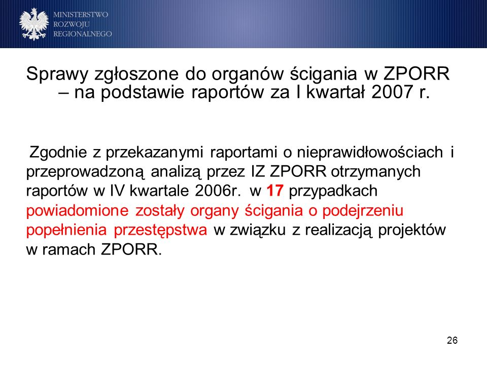 26 Sprawy zgłoszone do organów ścigania w ZPORR – na podstawie raportów za I kwartał 2007 r. Zgodnie z przekazanymi raportami o nieprawidłowościach i