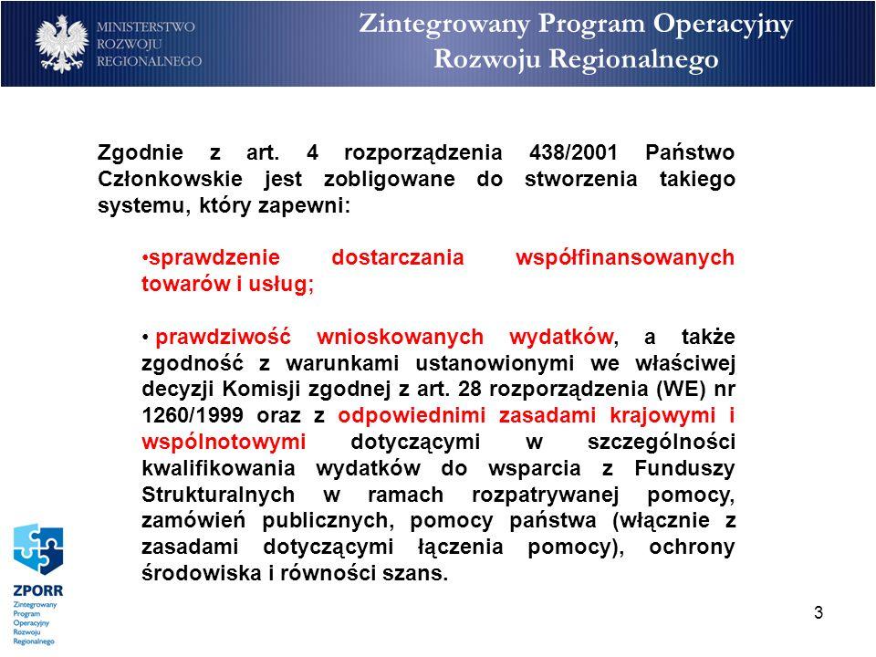 3 Zintegrowany Program Operacyjny Rozwoju Regionalnego Zgodnie z art. 4 rozporządzenia 438/2001 Państwo Członkowskie jest zobligowane do stworzenia ta