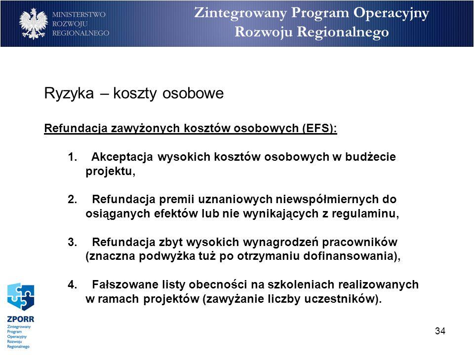 34 Zintegrowany Program Operacyjny Rozwoju Regionalnego Ryzyka – koszty osobowe Refundacja zawyżonych kosztów osobowych (EFS): 1. Akceptacja wysokich