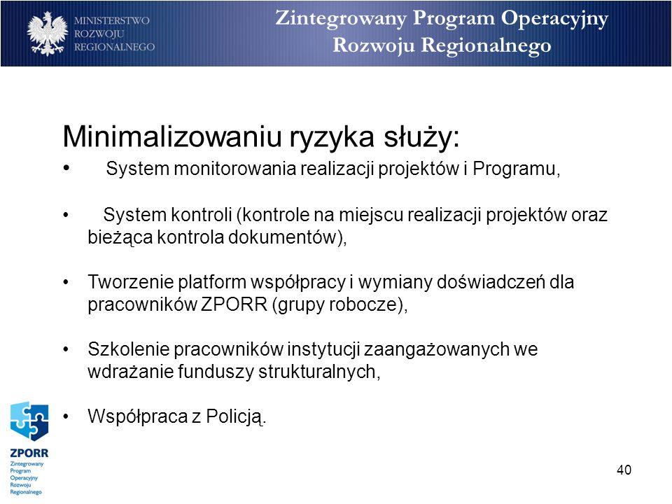 40 Zintegrowany Program Operacyjny Rozwoju Regionalnego Minimalizowaniu ryzyka służy: System monitorowania realizacji projektów i Programu, System kon