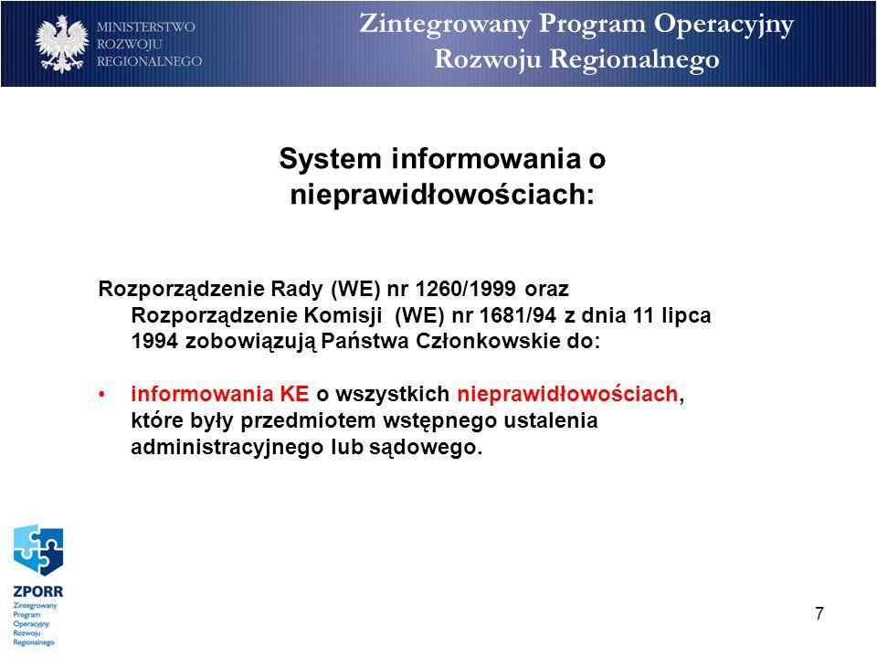 7 Zintegrowany Program Operacyjny Rozwoju Regionalnego Rozporządzenie Rady (WE) nr 1260/1999 oraz Rozporządzenie Komisji (WE) nr 1681/94 z dnia 11 lip