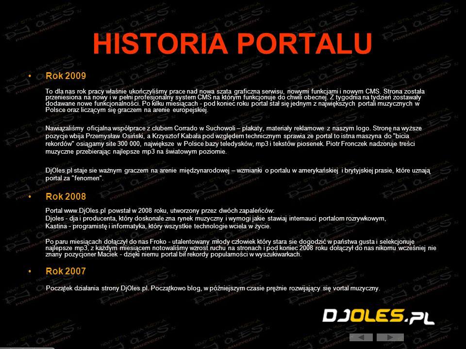HISTORIA PORTALU Rok 2009 To dla nas rok pracy właśnie ukończyliśmy prace nad nowa szata graficzna serwisu, nowymi funkcjami i nowym CMS. Strona zosta