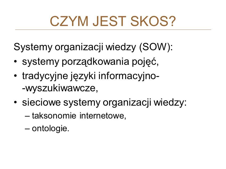 Systemy organizacji wiedzy (SOW): systemy porządkowania pojęć, tradycyjne języki informacyjno- -wyszukiwawcze, sieciowe systemy organizacji wiedzy: –t