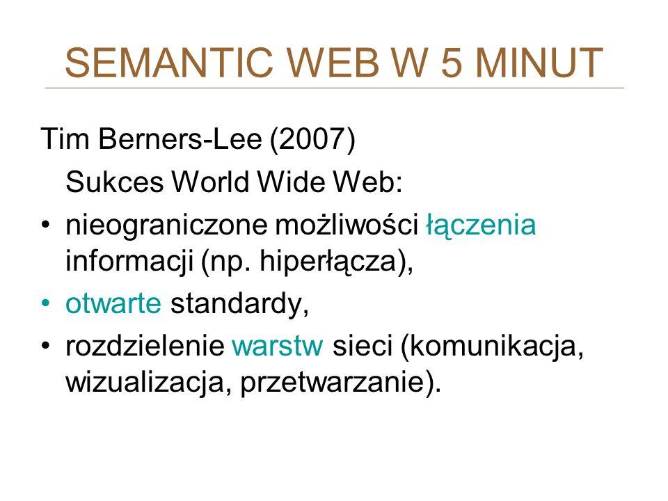 SEMANTIC WEB W 5 MINUT Tim Berners-Lee (2007) Sukces World Wide Web: nieograniczone możliwości łączenia informacji (np. hiperłącza), otwarte standardy