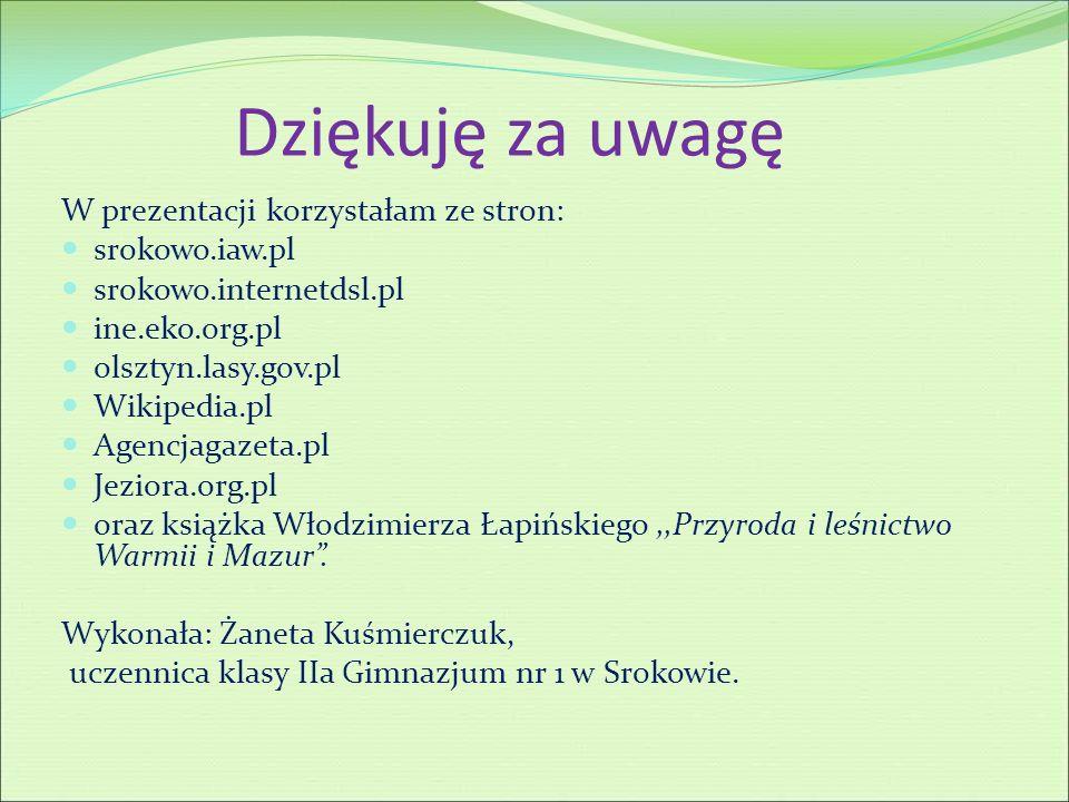 Dziękuję za uwagę W prezentacji korzystałam ze stron: srokowo.iaw.pl srokowo.internetdsl.pl ine.eko.org.pl olsztyn.lasy.gov.pl Wikipedia.pl Agencjagaz