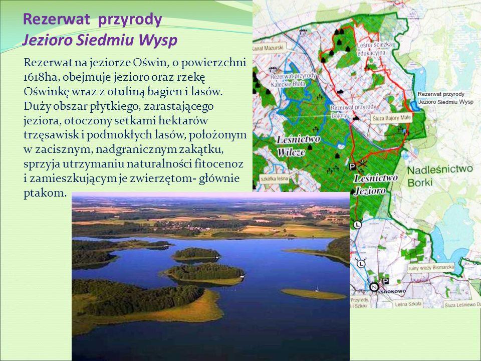 Rezerwat przyrody Jezioro Siedmiu Wysp Rezerwat na jeziorze Oświn, o powierzchni 1618ha, obejmuje jezioro oraz rzekę Oświnkę wraz z otuliną bagien i l