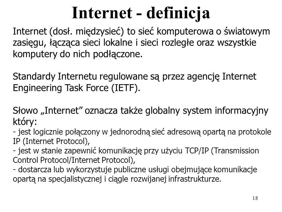 Internet i pochodne (definicje) Opracowanie własne na podstawie: encyklopedii: naukowej, Wikipedii oraz HOGART - Information Technology Partner Dr hab