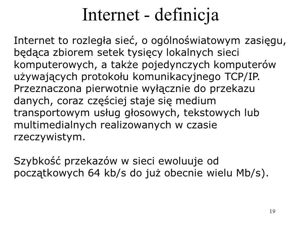Internet (dosł. międzysieć) to sieć komputerowa o światowym zasięgu, łącząca sieci lokalne i sieci rozległe oraz wszystkie komputery do nich podłączon