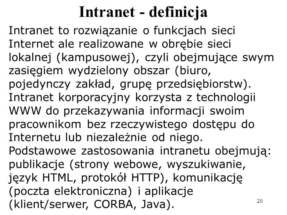 Internet to rozległa sieć, o ogólnoświatowym zasięgu, będąca zbiorem setek tysięcy lokalnych sieci komputerowych, a także pojedynczych komputerów używ